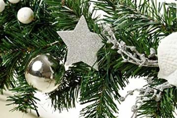 HEITMANN DECO Tannengirlande für innen - Weihnachtsgirlande Dekogirlande Girlande Weihnachten - natürliche Dekoration - Grün, Weiß, Silber - 3