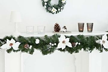 HEITMANN DECO Tannengirlande für innen - Weihnachtsgirlande Dekogirlande Girlande Weihnachten - natürliche Dekoration - Grün, Weiß, Silber - 4