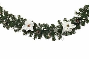 HEITMANN DECO Tannengirlande für innen - Weihnachtsgirlande Dekogirlande Girlande Weihnachten - natürliche Dekoration - Grün, Weiß, Silber - 1