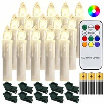 Hengda 30 Stück LED Weihnachtskerzen mit Fernbedienung RGB Kerzen Lichterkette mit Batterien Christbaumkerzen Kabellos LED Kerzenlichter Weihnachts - 1