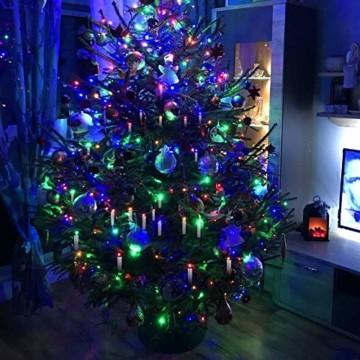 Hengda 30er LED Weihnachtskerzen Kabellos, mit Fernbedienung Timer und Batterien, Warmweiß & RGB Christbaumkerzen Kabellos, Wasserdicht LED Kerzen für Weihnachtsbaum, Weihnachtsdeko, Weihnachten - 4