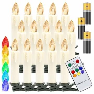 Hengda 30er LED Weihnachtskerzen Kabellos, mit Fernbedienung Timer und Batterien, Warmweiß & RGB Christbaumkerzen Kabellos, Wasserdicht LED Kerzen für Weihnachtsbaum, Weihnachtsdeko, Weihnachten - 1