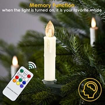 Hengda 30er LED Weihnachtskerzen Kabellos, mit Fernbedienung Timer und Batterien, Warmweiß & RGB Christbaumkerzen Kabellos, Wasserdicht LED Kerzen für Weihnachtsbaum, Weihnachtsdeko, Weihnachten - 6
