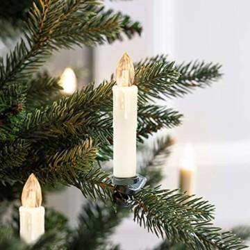 Hengda 40er LED Weihnachtskerzen Kabellos Warmweiß, mit Fernbedienung Timer und Batterien, Christbaumkerzen Kabellos, LED Kerzen Dimmbar, IP44, für Weihnachtsbaum, Weihnachtsdeko - 4