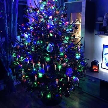 Hengda 40er LED Weihnachtskerzen Kabellos, Warmweiß & RGB Christbaumkerzen Kabellos, mit Fernbedienung Timer und Batterien, LED Kerzen Dimmbar, für Weihnachtsbaum, Weihnachten, Weihnachtsdeko, IP44 - 3