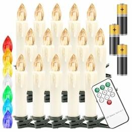 Hengda 40er LED Weihnachtskerzen Kabellos, Warmweiß & RGB Christbaumkerzen Kabellos, mit Fernbedienung Timer und Batterien, LED Kerzen Dimmbar, für Weihnachtsbaum, Weihnachten, Weihnachtsdeko, IP44 - 1
