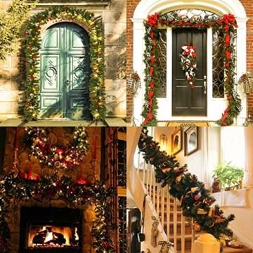 Hengda 5M Weihnachtsgirlande Tannengirlande Künstlich 100 LED's Grüne Weihnachtsgirlande Deko für Kamine Treppen Wand Tür Draußen Innen Balkon - 2