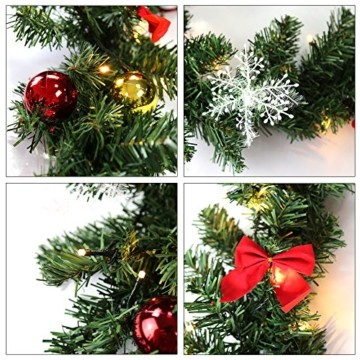 Hengda 5M Weihnachtsgirlande Tannengirlande Künstlich 100 LED's Grüne Weihnachtsgirlande Deko für Kamine Treppen Wand Tür Draußen Innen Balkon - 3