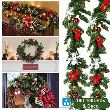 Hengda 5M Weihnachtsgirlande Tannengirlande Künstlich 100 LED's Grüne Weihnachtsgirlande Deko für Kamine Treppen Wand Tür Draußen Innen Balkon - 5