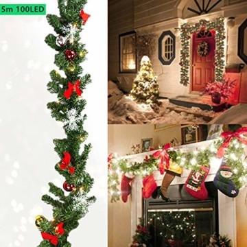 Hengda 5M Weihnachtsgirlande Tannengirlande Künstlich 100 LED's Grüne Weihnachtsgirlande Deko für Kamine Treppen Wand Tür Draußen Innen Balkon - 6