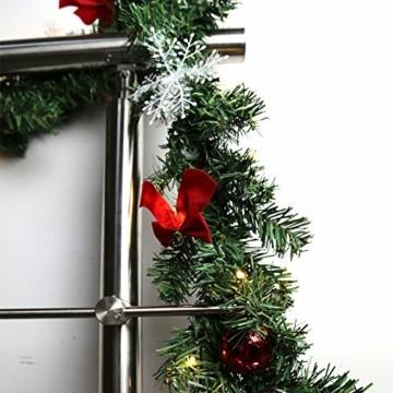 Hengda 5M Weihnachtsgirlande Tannengirlande Künstlich 100 LED's Grüne Weihnachtsgirlande Deko für Kamine Treppen Wand Tür Draußen Innen Balkon - 7