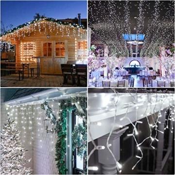 Hengda 600 Leds LED Eisregen, Kaltweiß Lichterkette mit 8 Modi, Außen & Innen Beleuchtung Deko, für Zimmer, Kinderzimmer, Weihnachten, Party, DIY, Hochzeit, Geburtstag, IP44 Wasserfest - 2