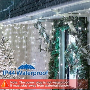 Hengda 600 Leds LED Eisregen, Kaltweiß Lichterkette mit 8 Modi, Außen & Innen Beleuchtung Deko, für Zimmer, Kinderzimmer, Weihnachten, Party, DIY, Hochzeit, Geburtstag, IP44 Wasserfest - 4