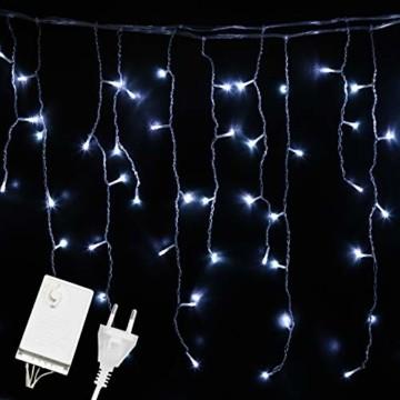 Hengda 600 Leds LED Eisregen, Kaltweiß Lichterkette mit 8 Modi, Außen & Innen Beleuchtung Deko, für Zimmer, Kinderzimmer, Weihnachten, Party, DIY, Hochzeit, Geburtstag, IP44 Wasserfest - 1