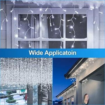 Hengda 600 Leds LED Eisregen, Kaltweiß Lichterkette mit 8 Modi, Außen & Innen Beleuchtung Deko, für Zimmer, Kinderzimmer, Weihnachten, Party, DIY, Hochzeit, Geburtstag, IP44 Wasserfest - 5