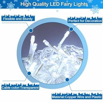 Hengda 600 Leds LED Eisregen, Kaltweiß Lichterkette mit 8 Modi, Außen & Innen Beleuchtung Deko, für Zimmer, Kinderzimmer, Weihnachten, Party, DIY, Hochzeit, Geburtstag, IP44 Wasserfest - 6