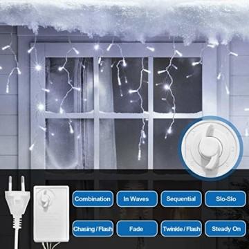 Hengda 600 Leds LED Eisregen, Kaltweiß Lichterkette mit 8 Modi, Außen & Innen Beleuchtung Deko, für Zimmer, Kinderzimmer, Weihnachten, Party, DIY, Hochzeit, Geburtstag, IP44 Wasserfest - 7