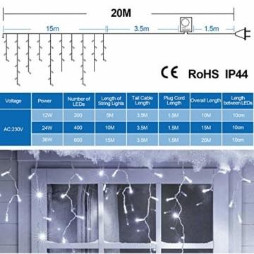 Hengda 600 Leds LED Eisregen, Kaltweiß Lichterkette mit 8 Modi, Außen & Innen Beleuchtung Deko, für Zimmer, Kinderzimmer, Weihnachten, Party, DIY, Hochzeit, Geburtstag, IP44 Wasserfest - 8