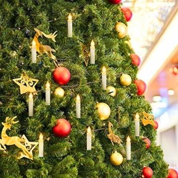 HENGMEI 30 Stück LED Kerzen Weihnachtskerzen Kabellos Warmweiß mit Fernbedienung Timer Christbaumkerzen Weihnachtsbaum Kerzen Kerzenlichter Weihnachts - 2