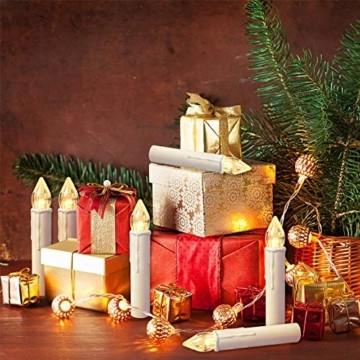 HENGMEI 30 Stück LED Kerzen Weihnachtskerzen Kabellos Warmweiß mit Fernbedienung Timer Christbaumkerzen Weihnachtsbaum Kerzen Kerzenlichter Weihnachts - 4