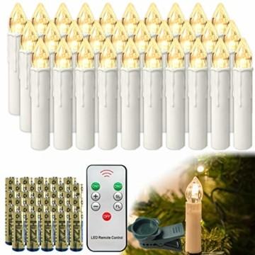 HENGMEI 30 Stück LED Kerzen Weihnachtskerzen Kabellos Warmweiß mit Fernbedienung Timer Christbaumkerzen Weihnachtsbaum Kerzen Kerzenlichter Weihnachts - 1