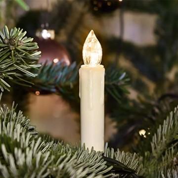 HENGMEI 30 Stück LED Kerzen Weihnachtskerzen Kabellos Warmweiß mit Fernbedienung Timer Christbaumkerzen Weihnachtsbaum Kerzen Kerzenlichter Weihnachts - 5