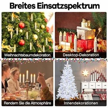 HENGMEI 30 Stück LED Kerzen Weihnachtskerzen Kabellos Warmweiß mit Fernbedienung Timer Christbaumkerzen Weihnachtsbaum Kerzen Kerzenlichter Weihnachts - 8