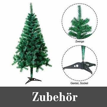 HENGMEI PVC Weihnachtsbaum Tannenbaum Christbaum Grün künstlicher mit ständer ca. 80 Spitzen Lena Weihnachtsdeko (Grün PVC, 90cm) - 4
