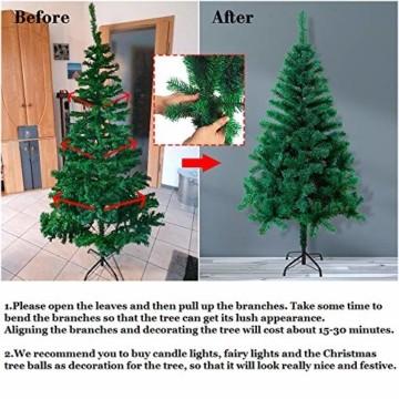 HENGMEI PVC Weihnachtsbaum Tannenbaum Christbaum Grün künstlicher mit ständer ca. 80 Spitzen Lena Weihnachtsdeko (Grün PVC, 90cm) - 5