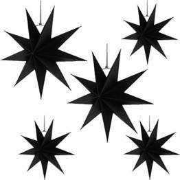 Hilif Faltstern Weihnachten, 9 Zacken Faltsterne Schwarz 5 Stück, 2 Stück Durchmesser 60 cm, 3 Stück Durchmesser 30cm, Sterne Papier zum Fenster Dekoration, Advent, Weihnachtsbaum - 1