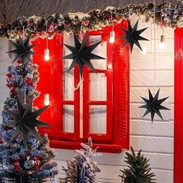 Hilif Faltstern Weihnachten, 9 Zacken Faltsterne Schwarz 5 Stück, 2 Stück Durchmesser 60 cm, 3 Stück Durchmesser 30cm, Sterne Papier zum Fenster Dekoration, Advent, Weihnachtsbaum - 4