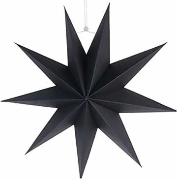 Hilif Faltstern Weihnachten, 9 Zacken Faltsterne Schwarz 5 Stück, 2 Stück Durchmesser 60 cm, 3 Stück Durchmesser 30cm, Sterne Papier zum Fenster Dekoration, Advent, Weihnachtsbaum - 5