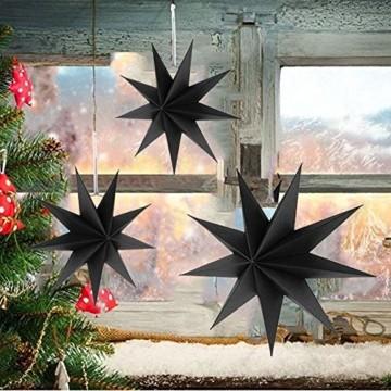 Hilif Faltstern Weihnachten, 9 Zacken Faltsterne Schwarz 5 Stück, 2 Stück Durchmesser 60 cm, 3 Stück Durchmesser 30cm, Sterne Papier zum Fenster Dekoration, Advent, Weihnachtsbaum - 6