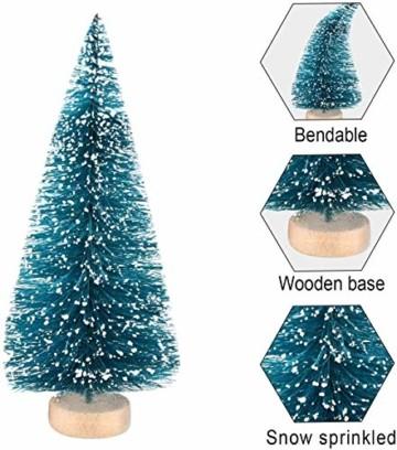 HIQE-FL Miniatur Tannenbaum,Naturgetreuer Weihnachtsbaum,Mini Weihnachtsbaum Plastik,Weihnachtsbaum Klein Geschmückt,Mini Christbaum,Künstlicher Weihnachtsbaum(Blau) - 2