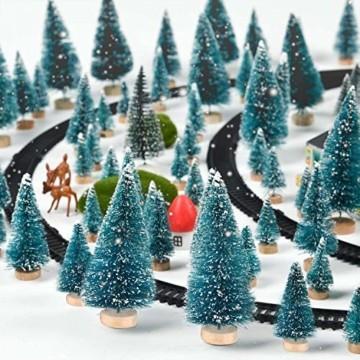 HIQE-FL Miniatur Tannenbaum,Naturgetreuer Weihnachtsbaum,Mini Weihnachtsbaum Plastik,Weihnachtsbaum Klein Geschmückt,Mini Christbaum,Künstlicher Weihnachtsbaum(Blau) - 3