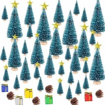 HIQE-FL Miniatur Tannenbaum,Naturgetreuer Weihnachtsbaum,Mini Weihnachtsbaum Plastik,Weihnachtsbaum Klein Geschmückt,Mini Christbaum,Künstlicher Weihnachtsbaum(Blau) - 1