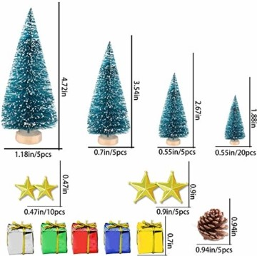 HIQE-FL Miniatur Tannenbaum,Naturgetreuer Weihnachtsbaum,Mini Weihnachtsbaum Plastik,Weihnachtsbaum Klein Geschmückt,Mini Christbaum,Künstlicher Weihnachtsbaum(Blau) - 5