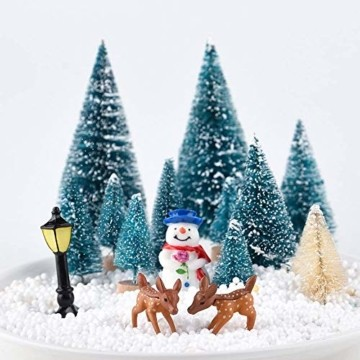 HIQE-FL Miniatur Tannenbaum,Naturgetreuer Weihnachtsbaum,Mini Weihnachtsbaum Plastik,Weihnachtsbaum Klein Geschmückt,Mini Christbaum,Künstlicher Weihnachtsbaum(Blau) - 7