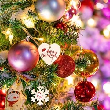 Holz Weihnachtsdeko Anhänger 60tlg schneeflocke Holzanhänger Weihnachten Holzverzierung mit 60 mt schnur seil,Christbaumschmuck Anhänger für urlaub party wohnkultur hochzeit diy handwerk Deer - 2
