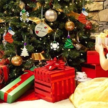 Holz Weihnachtsdeko Anhänger 60tlg schneeflocke Holzanhänger Weihnachten Holzverzierung mit 60 mt schnur seil,Christbaumschmuck Anhänger für urlaub party wohnkultur hochzeit diy handwerk Deer - 5