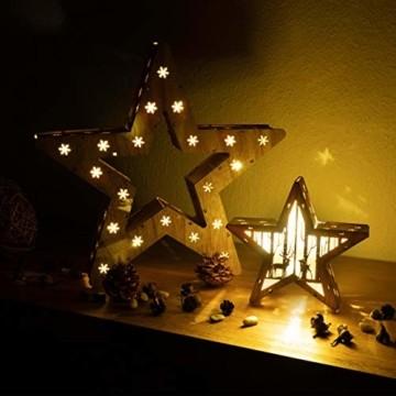Holzsterne 2in1 3D-Optik 15 LED warm weiß Batterie Timer Weihnachten Stern Holz Weihnachtsdeko Weihnachtsbeleuchtung zum Stellen Lichterstern 33 cm - 2