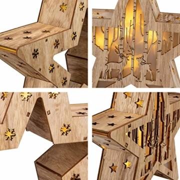 Holzsterne 2in1 3D-Optik 15 LED warm weiß Batterie Timer Weihnachten Stern Holz Weihnachtsdeko Weihnachtsbeleuchtung zum Stellen Lichterstern 33 cm - 3