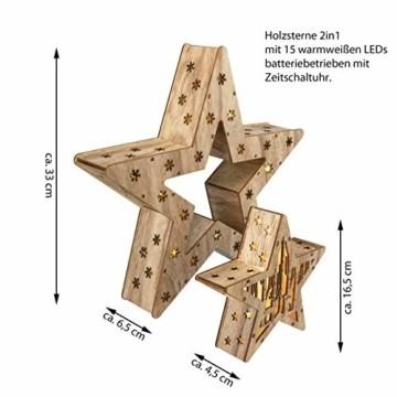 Holzsterne 2in1 3D-Optik 15 LED warm weiß Batterie Timer Weihnachten Stern Holz Weihnachtsdeko Weihnachtsbeleuchtung zum Stellen Lichterstern 33 cm - 4
