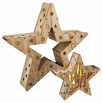 Holzsterne 2in1 3D-Optik 15 LED warm weiß Batterie Timer Weihnachten Stern Holz Weihnachtsdeko Weihnachtsbeleuchtung zum Stellen Lichterstern 33 cm - 1