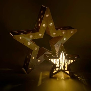 Holzsterne 2in1 3D-Optik 15 LED warm weiß Batterie Timer Weihnachten Stern Holz Weihnachtsdeko Weihnachtsbeleuchtung zum Stellen Lichterstern 33 cm - 5