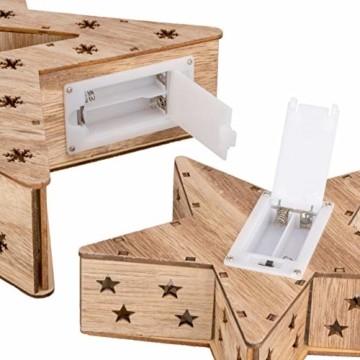 Holzsterne 2in1 3D-Optik 15 LED warm weiß Batterie Timer Weihnachten Stern Holz Weihnachtsdeko Weihnachtsbeleuchtung zum Stellen Lichterstern 33 cm - 6