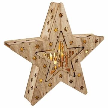 Holzsterne 2in1 3D-Optik 15 LED warm weiß Batterie Timer Weihnachten Stern Holz Weihnachtsdeko Weihnachtsbeleuchtung zum Stellen Lichterstern 33 cm - 7