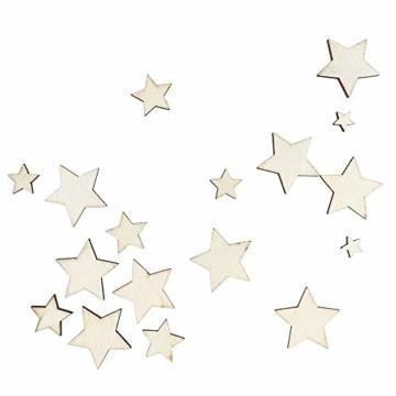 Holzsterne zum Basteln und Dekorieren | 5 verschiedene Größen | Sterne aus Holz | 1 cm bis 3 cm | naturfarben | 250 Stück | Ideal als Weihnachts-Deko, Tischdeko, Streudeko - 2
