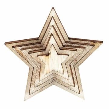 Holzsterne zum Basteln und Dekorieren | 5 verschiedene Größen | Sterne aus Holz | 1 cm bis 3 cm | naturfarben | 250 Stück | Ideal als Weihnachts-Deko, Tischdeko, Streudeko - 3