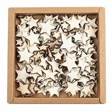 Holzsterne zum Basteln und Dekorieren | 5 verschiedene Größen | Sterne aus Holz | 1 cm bis 3 cm | naturfarben | 250 Stück | Ideal als Weihnachts-Deko, Tischdeko, Streudeko - 4